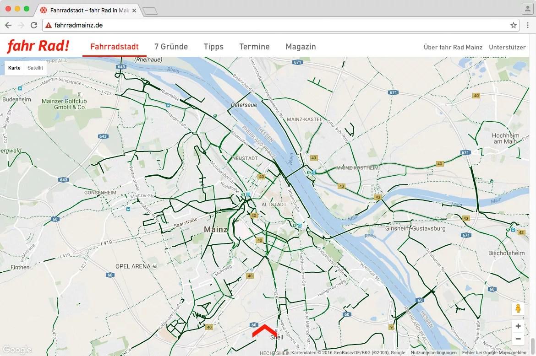 Google Maps mit dargestellten Radwegen in Mainz
