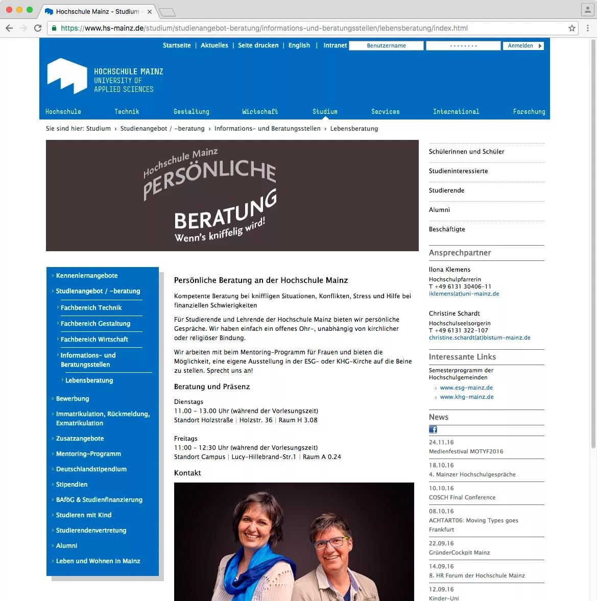 Online-Darstellung auf der Webseite der Hochschule Mainz