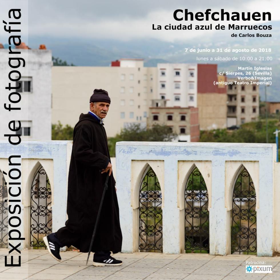 """Cartel de la exposición de fotografía """"Chefchauen. La ciudad azul de Marruecos"""" en la librería Verbo-Martín Iglesias de Sevilla"""
