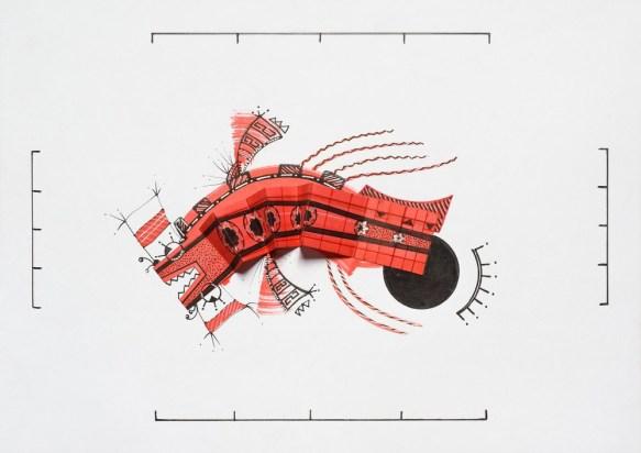Tinta, marcador , corrector y papel sobre papel. 21 cm. x 29 cm. 2013