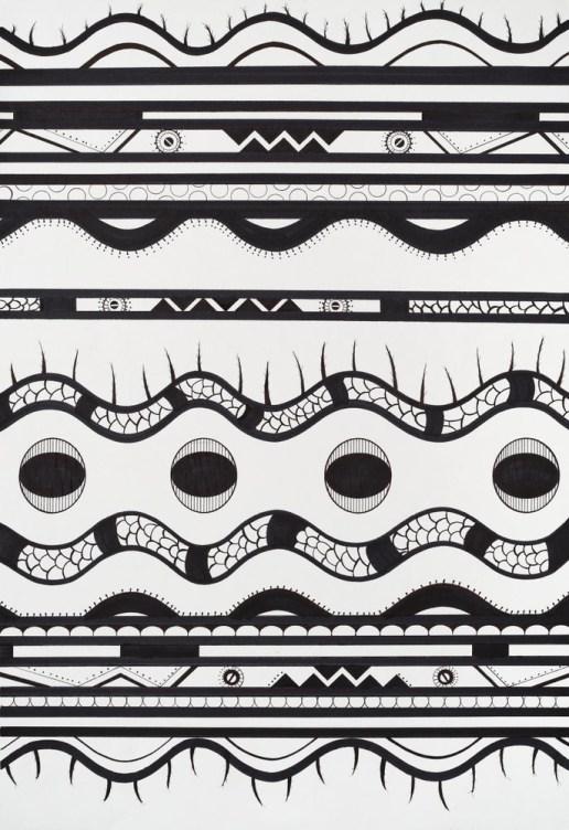 Mboi. Tinta y marcador sobre papel. 55 x 37,5 cm. 2015