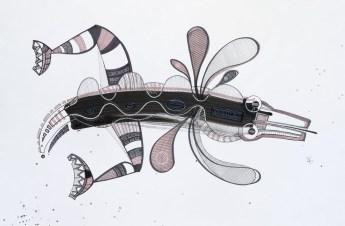 S/T. Tinta, marcador y corrector sobre papel. 61 cm. x 94 cm. 2013