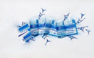Tinta, marcador , corrector y papel vegetal sobre papel. 50 cm. x 40 cm. 2015