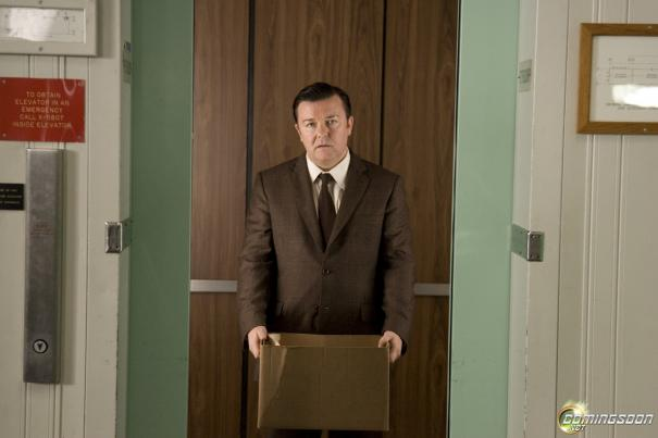 Ricky Gervais is bummed because his cardboard box clashes with his suit.