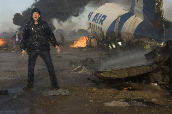 Nicolas Cage is irate - not because the plane crashed but because he was forced to fly coach.