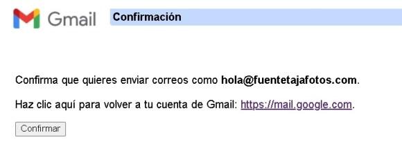 Cuenta Gmail, última confirmación para enviar correos como.