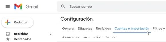 cuenta Gmail, ajustes 3. Cuentas e importación.
