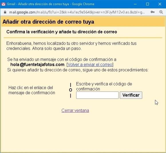 cuenta Gmail, espera de confirmación de verificación