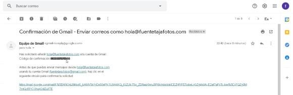 Cuenta Gmail, código de confirmación recibido