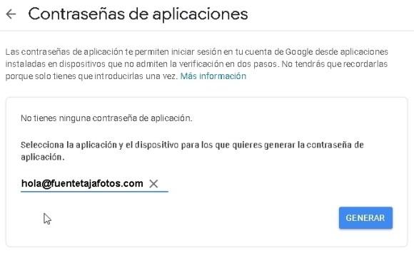 cuenta Gmail, contrasena de aplicaciones, nombre de cuenta