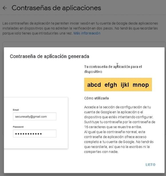 cuenta Gmail, contraseña de aplicaciones, contraseña generada.