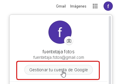 Gmail, gestionar tu cuenta de Google