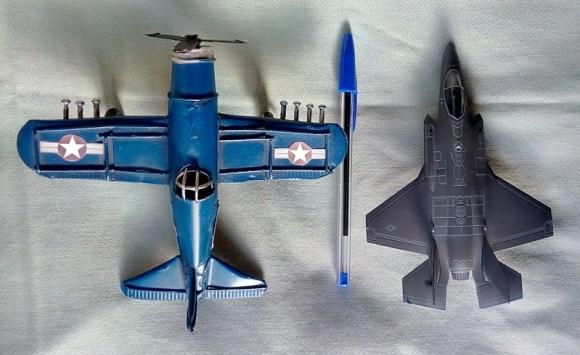 Maquetas de aviones, Para comparar sus tamaños.