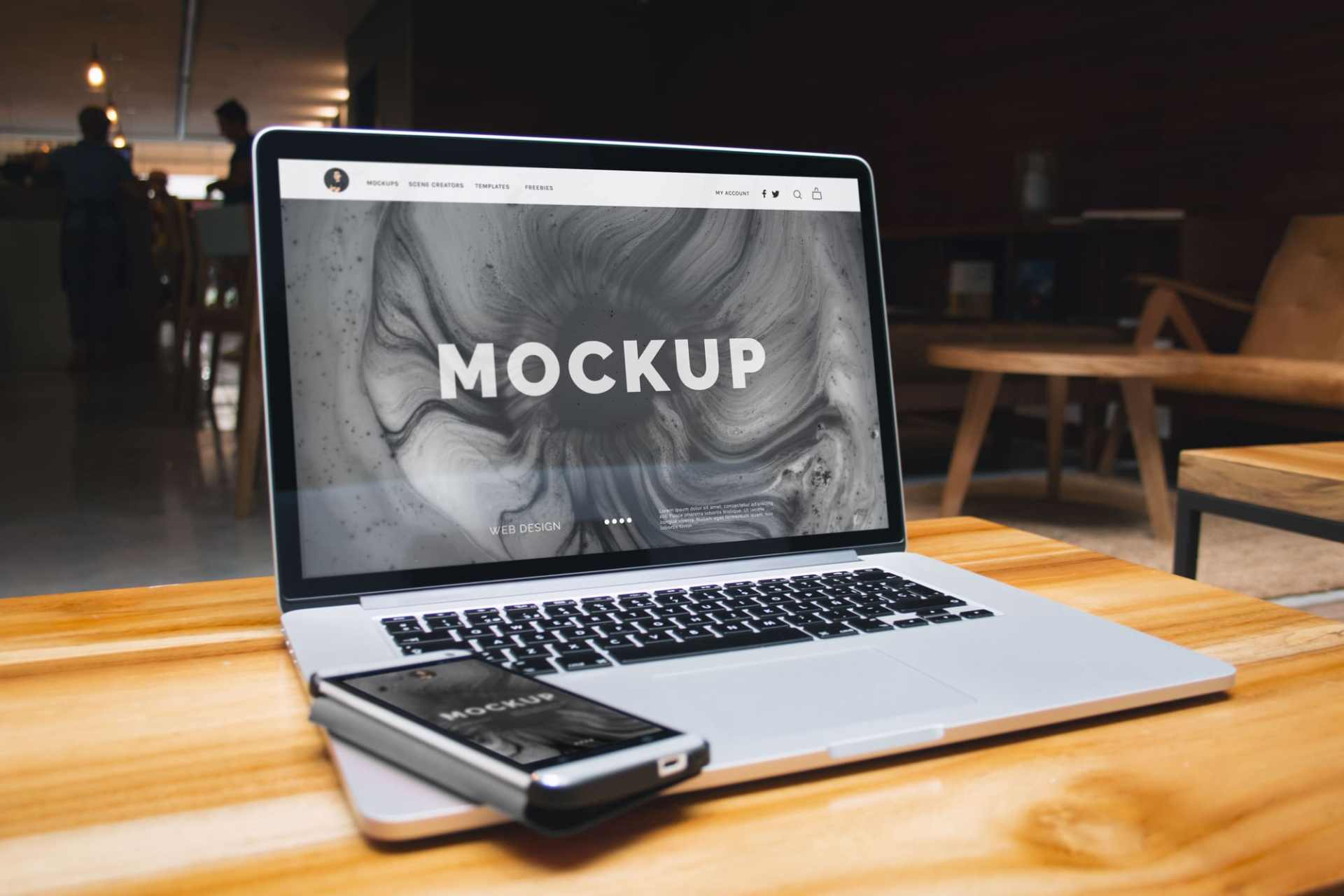 Free Mockup: Macbook Pro Retina and Mobile Device