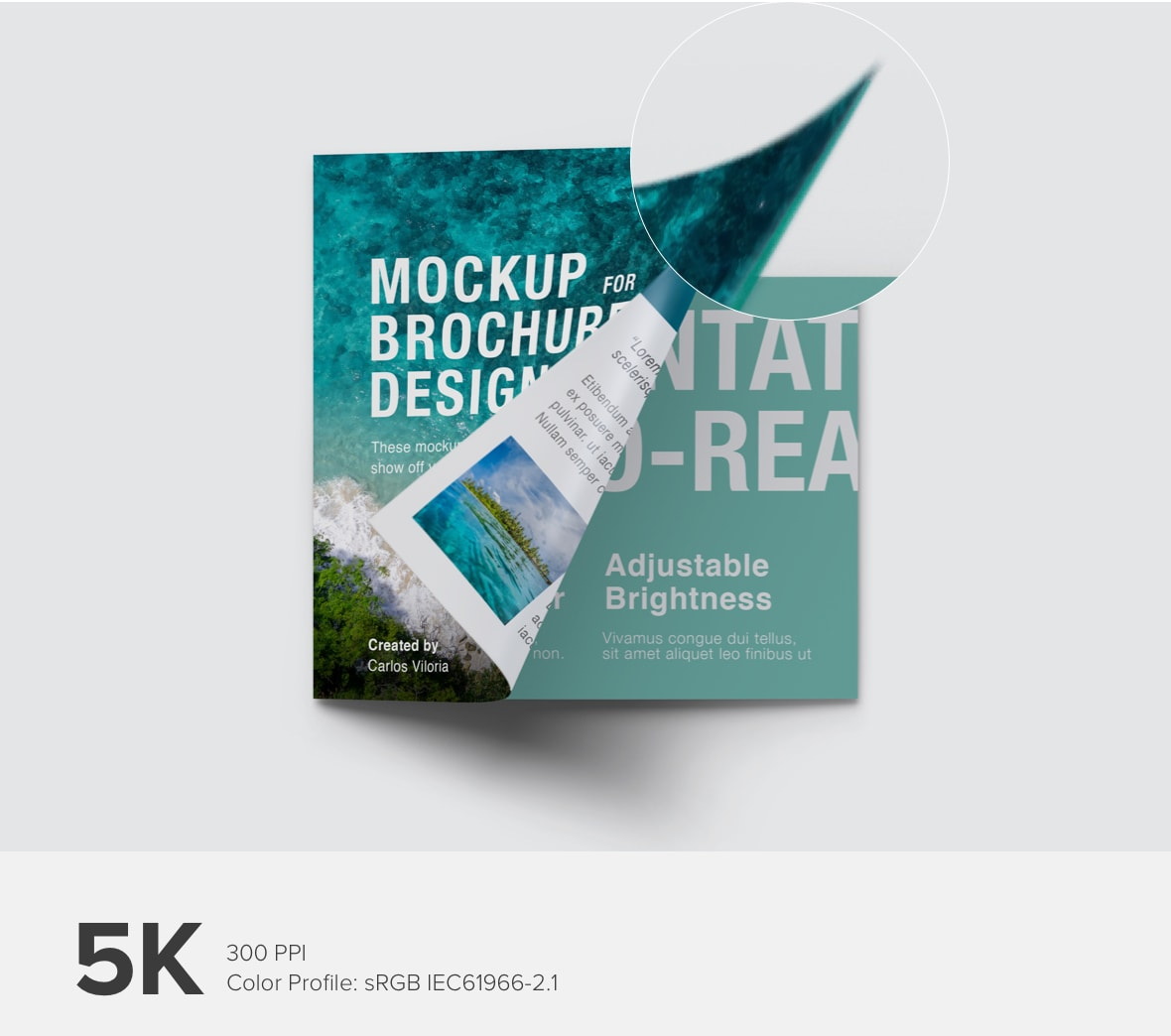Square Trifold Brochure Cover Mockup 03