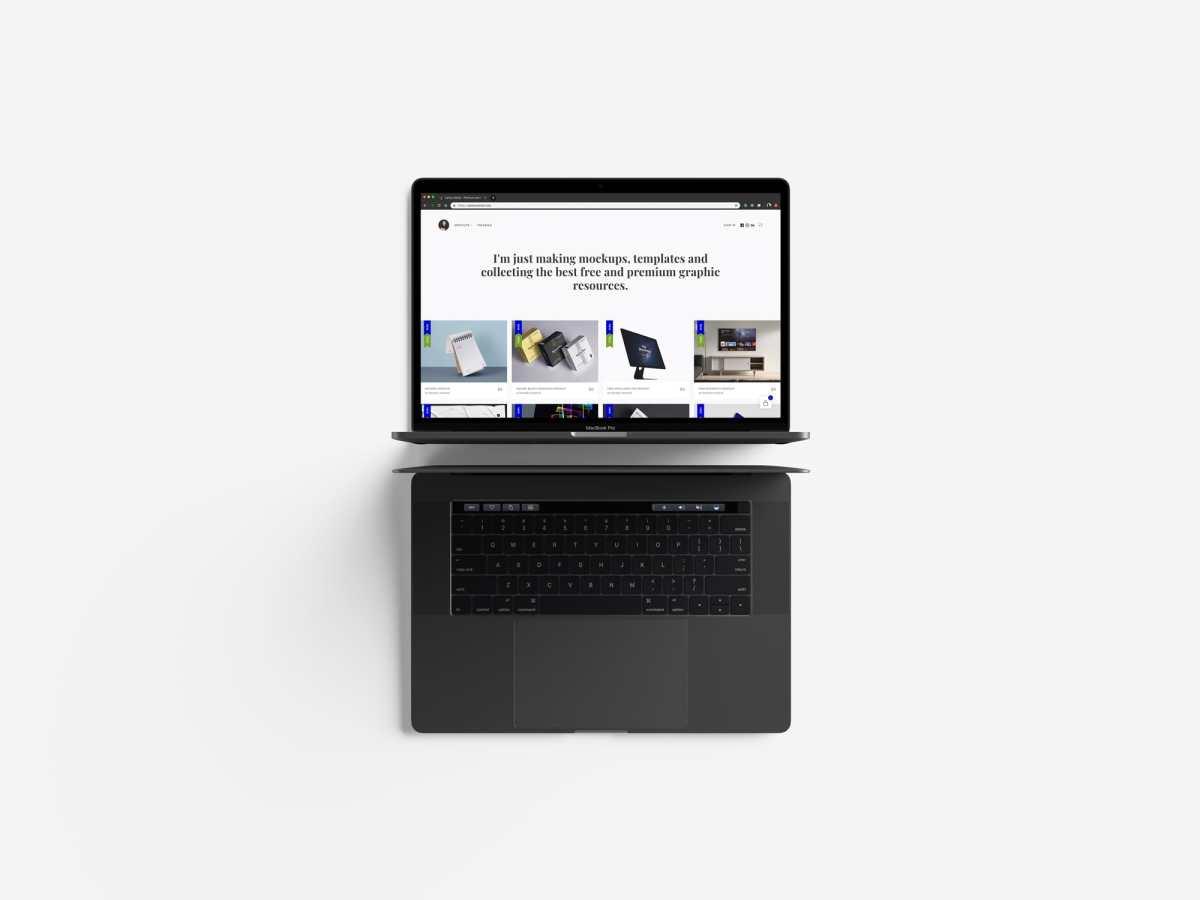Modern Top View MacBook Pro Mockup