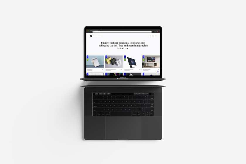 Modern Top View MacBook Pro Mockup