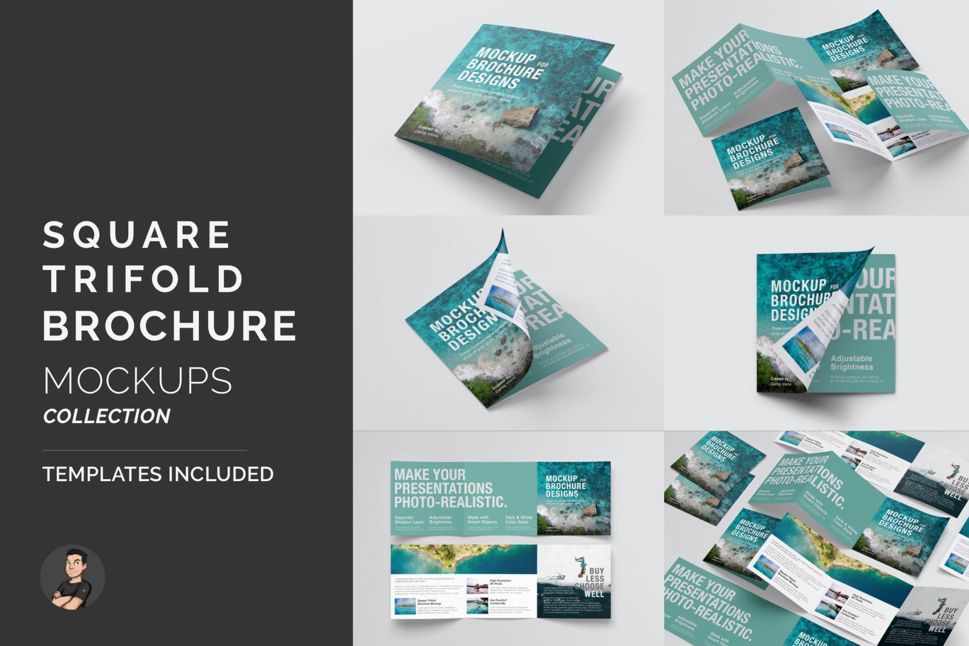 Square Trifold Brochure Mockups Pack