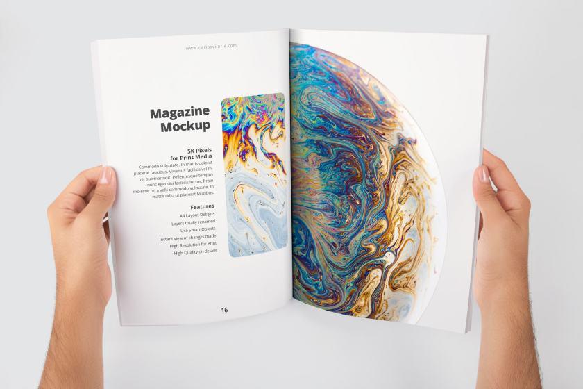 A4 Magazine Spread Page Mockup