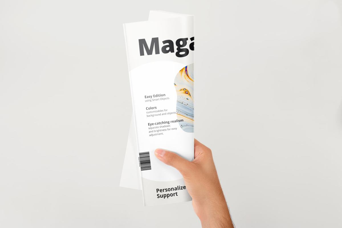 A4 Magazine Rolled Cover Mockup