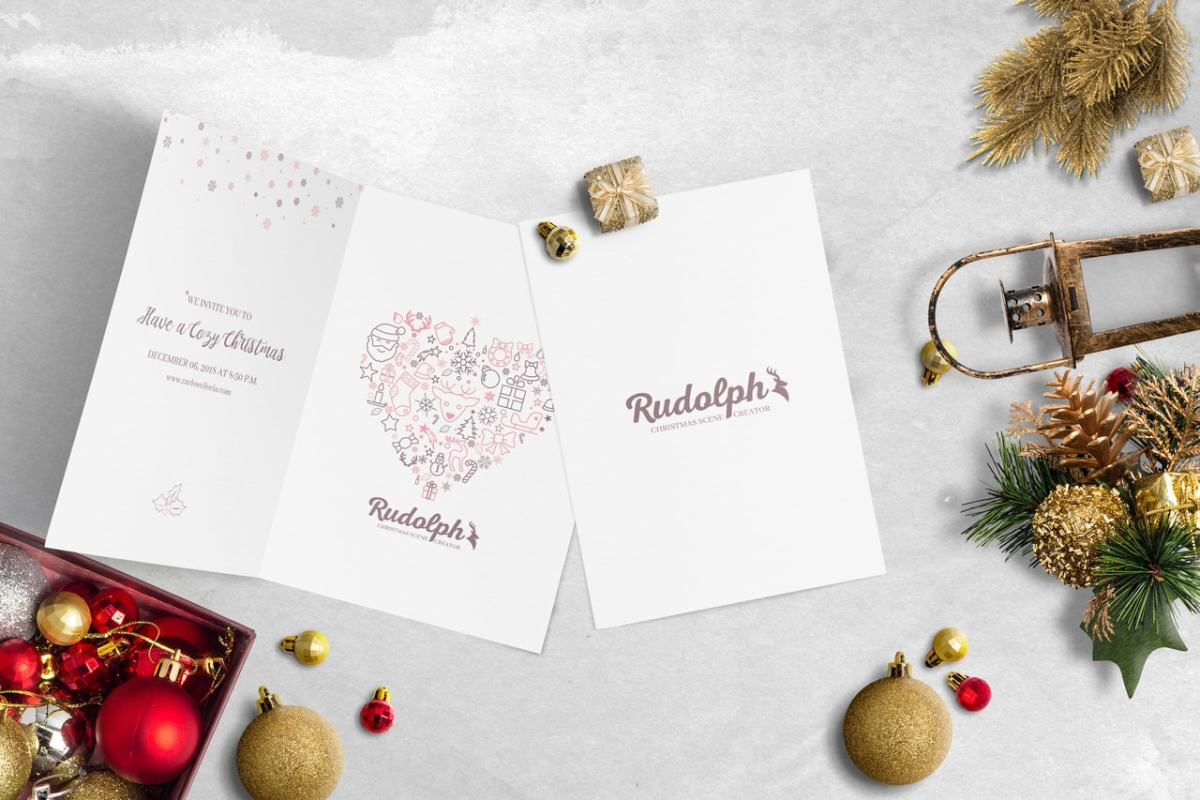 7x5 BiFold Greeting Card Christmas Scene Mockup 02