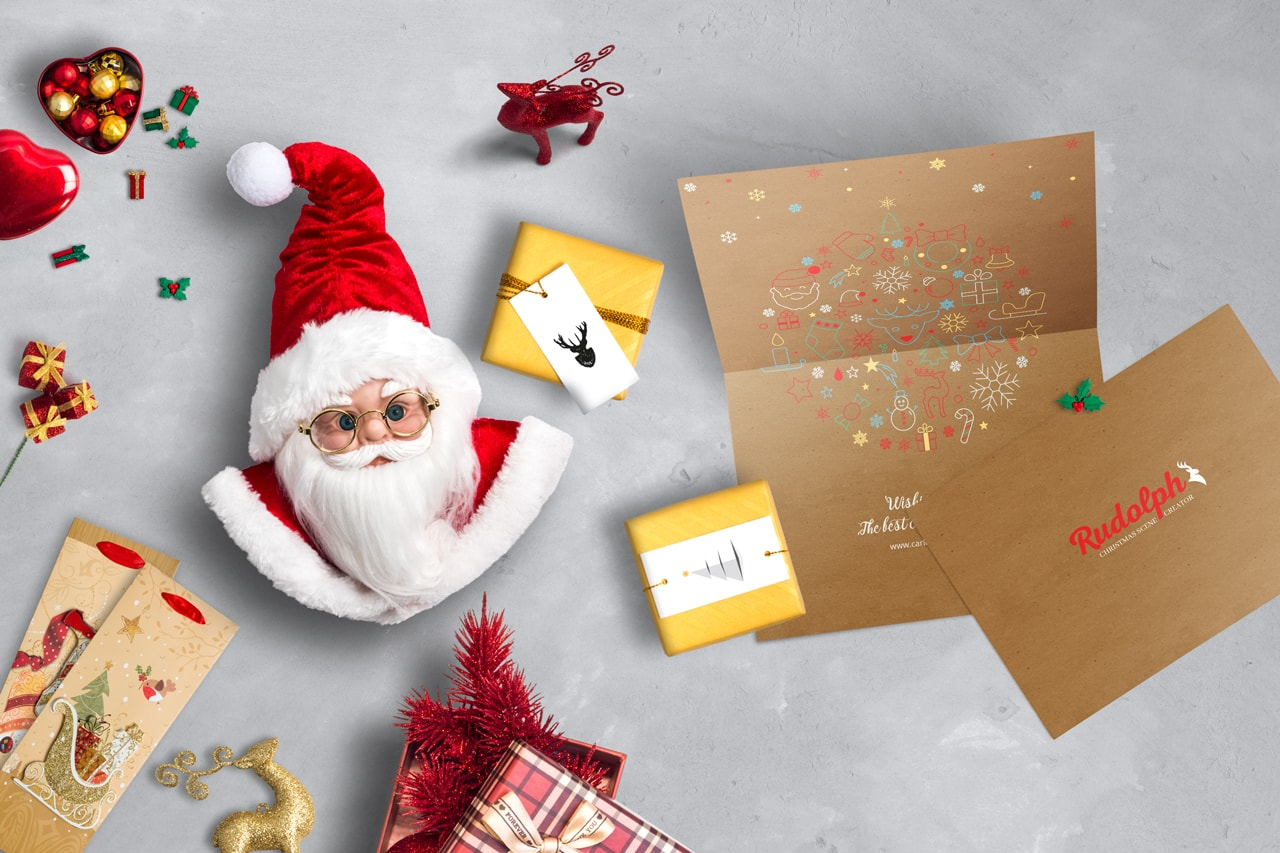 7x5 BiFold Greeting Card Christmas Scene Mockup 03