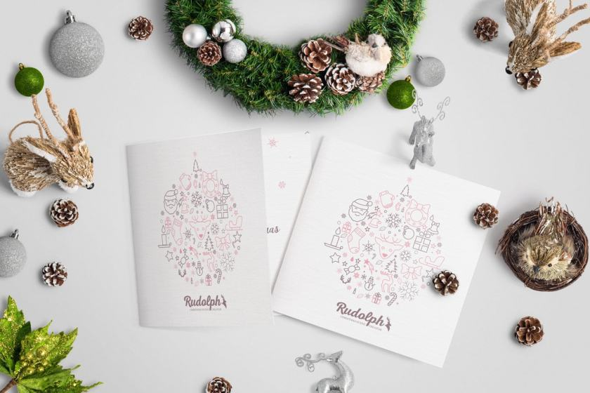 Square BiFold Christmas Greeting Card Scene Mockup 02