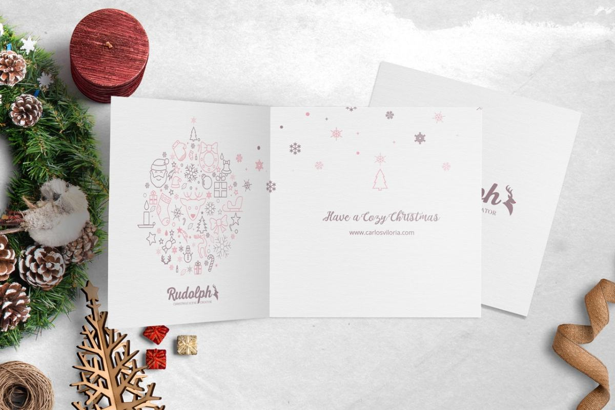 Square BiFold Christmas Greeting Card Scene Mockup 06
