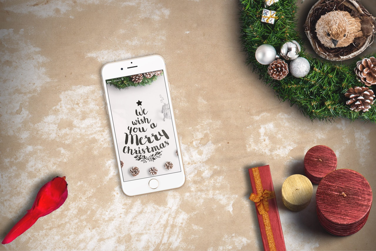 iPhone Christmas Scene Mockup