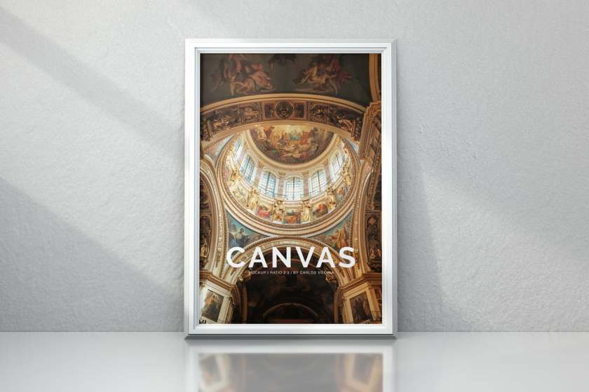 Portrait Framed Photo Canvas Mockup