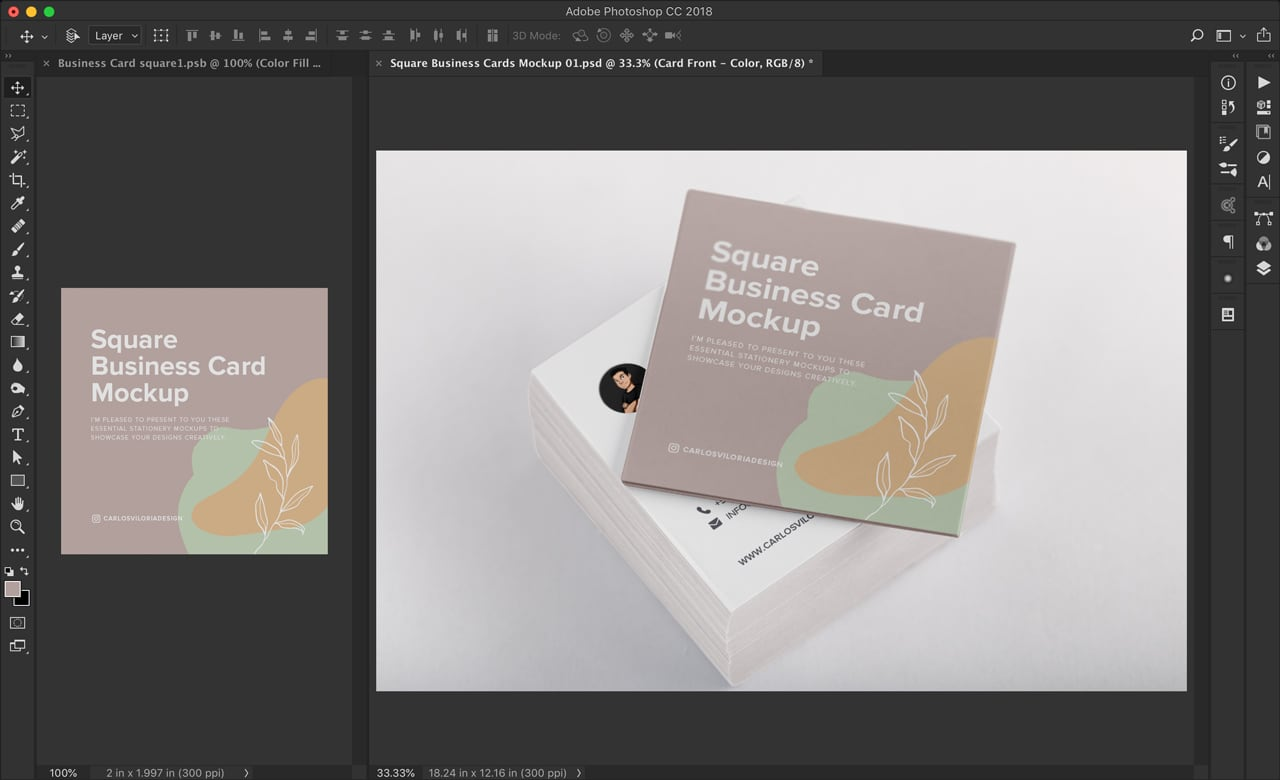 Square Business Card Mockup for Photoshop by Carlos Viloria