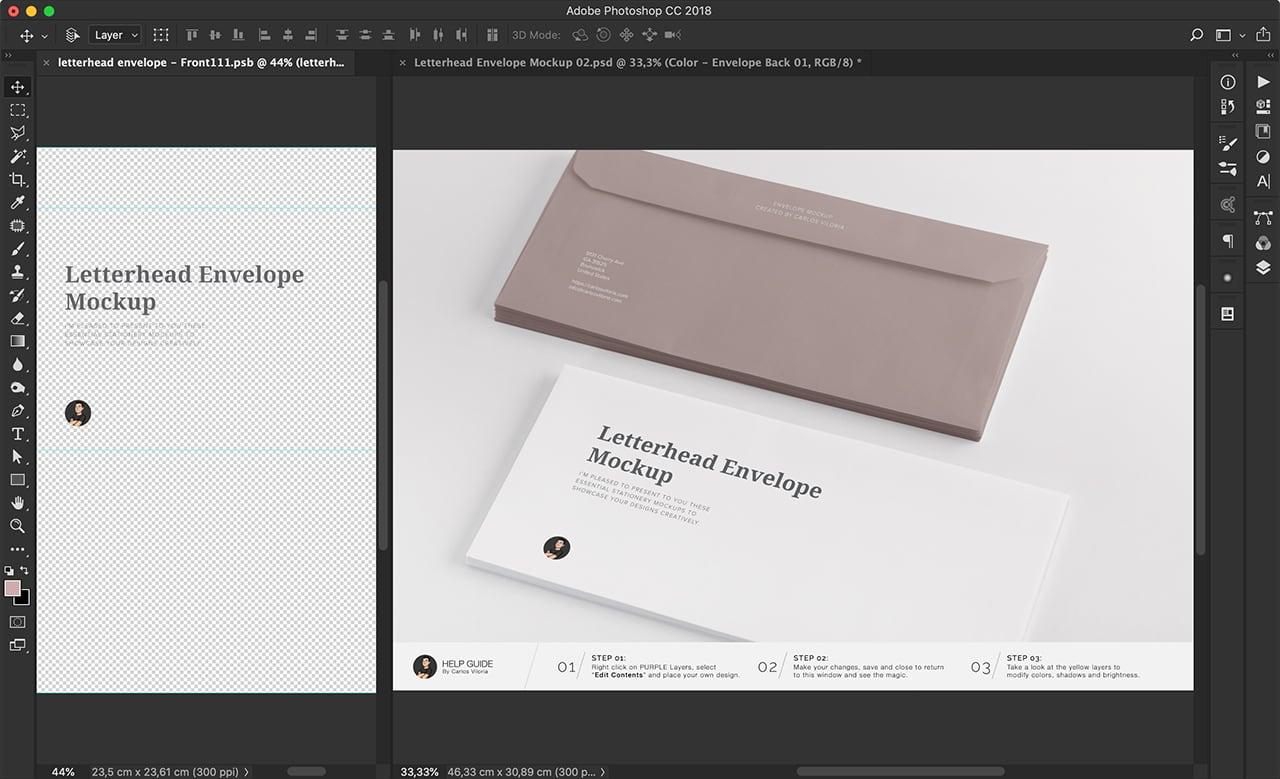 Branding Letterhead Envelope Mockup for Photoshop by Carlos Viloria