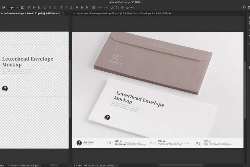 Branding Letterhead Envelope Mockup for Photoshop by Carlos Viloria