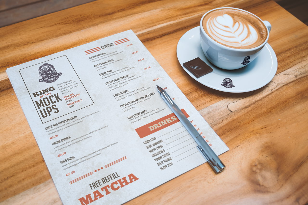 Free Letterhead and Coffee Cup Mockup