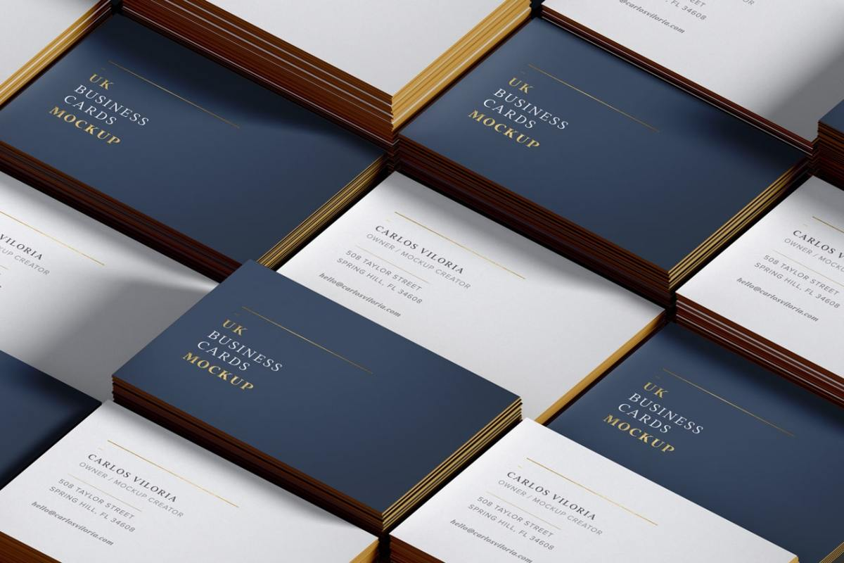UK Business cards mockup for branding