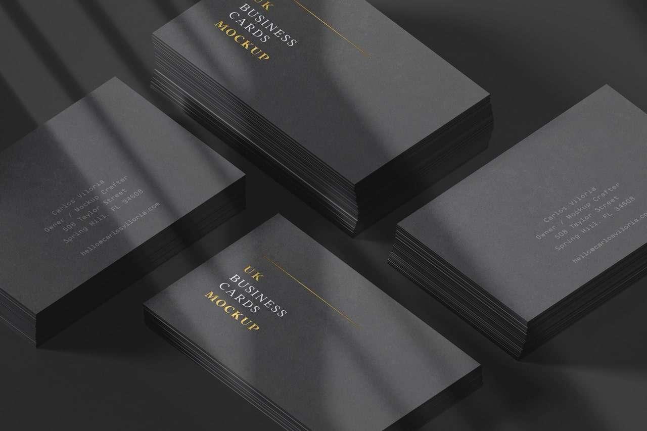 Black Stack Business Cards Mockup