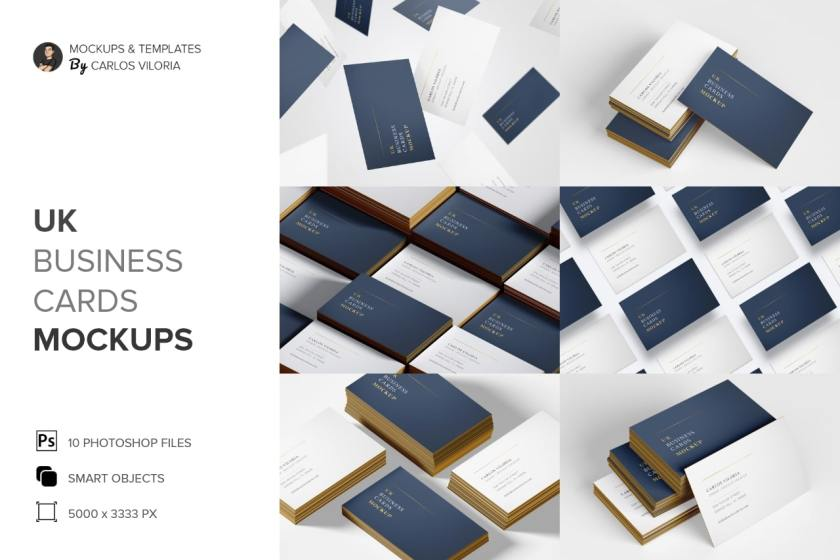 UK Business Cards Mockups Pack - Kit