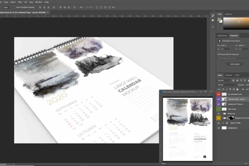 Close-Up Wall Calendar Mockup