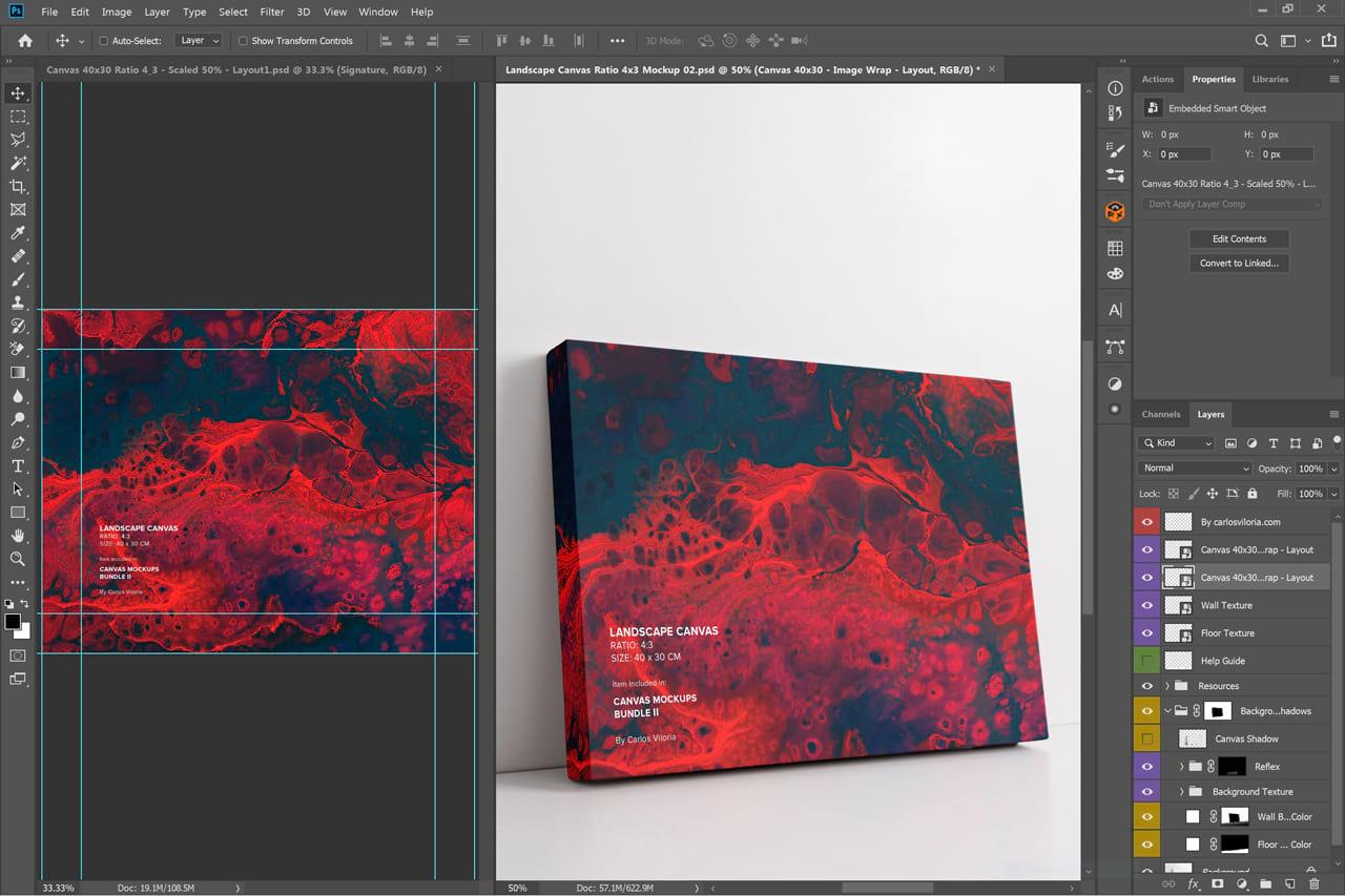 Wrap Side Landscape Canvas 30x40cm Mockup