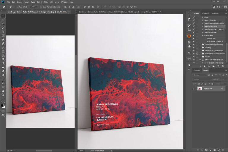 Thick Side landscape canvas mockup