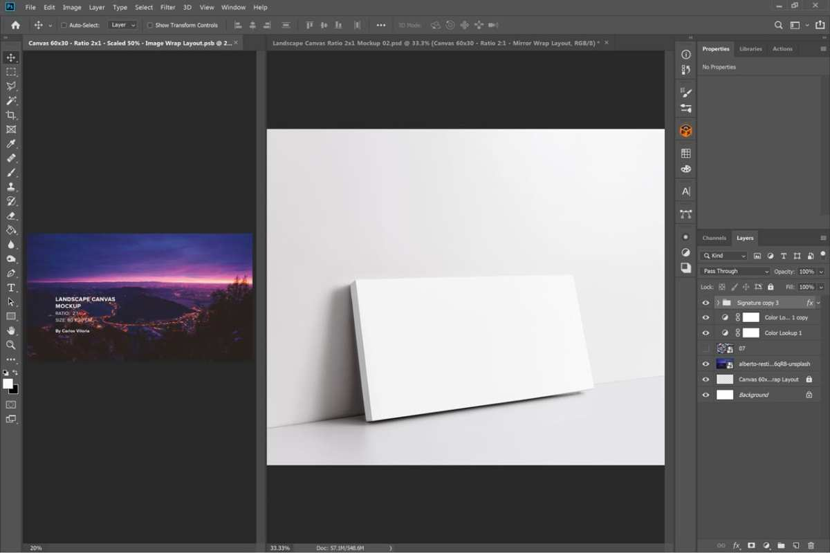 Perspective Landscape Canvas Ratio 2x1 Mockup