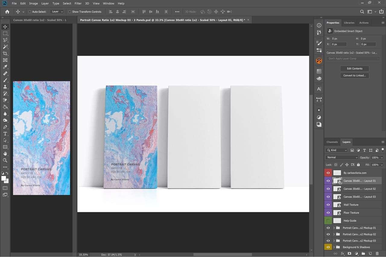 Three Canvas Ratio 1x2 Mockup