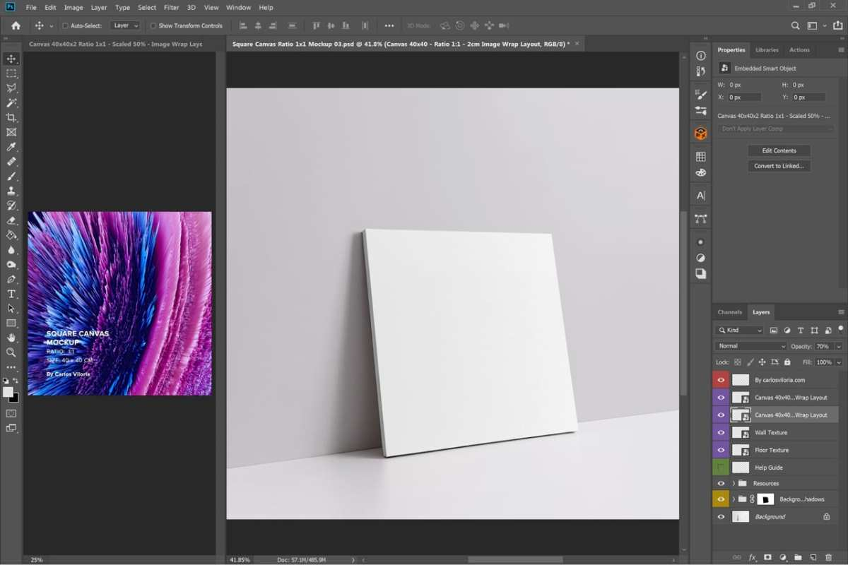 Slim Wrap Square Canvas Mockup