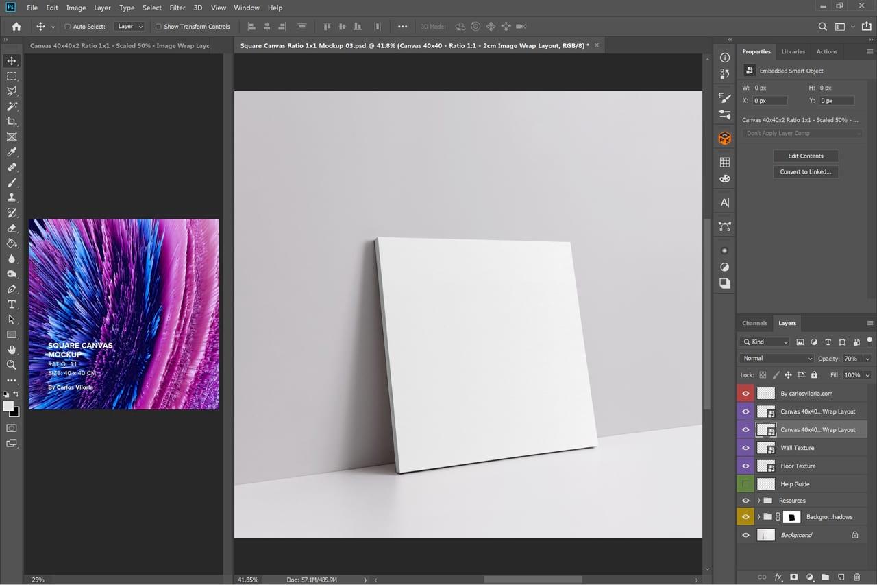 Slim Wrap Square Canvas Mockup