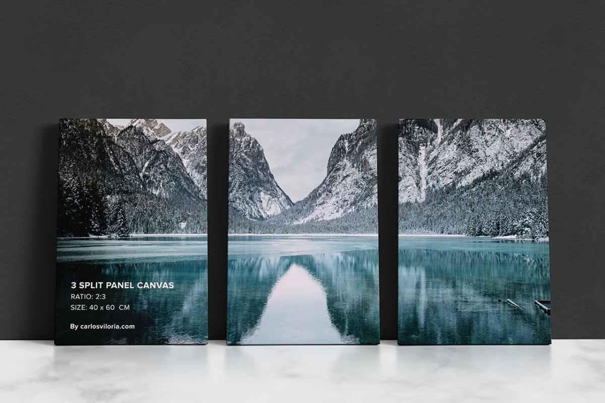 3 Split Panel Canvas Ratio 2x3 Mockup by Carlos Viloria