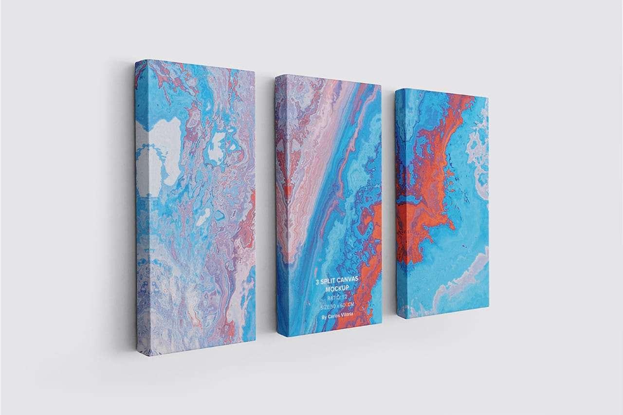 3 Split Panel Canvas Mockup