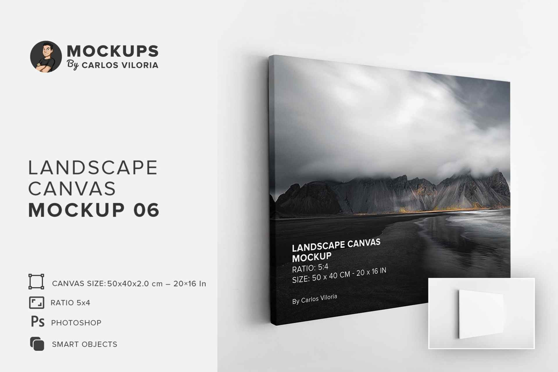 Hanging Thin Landscape Canvas Ratio 5x4 Mockup
