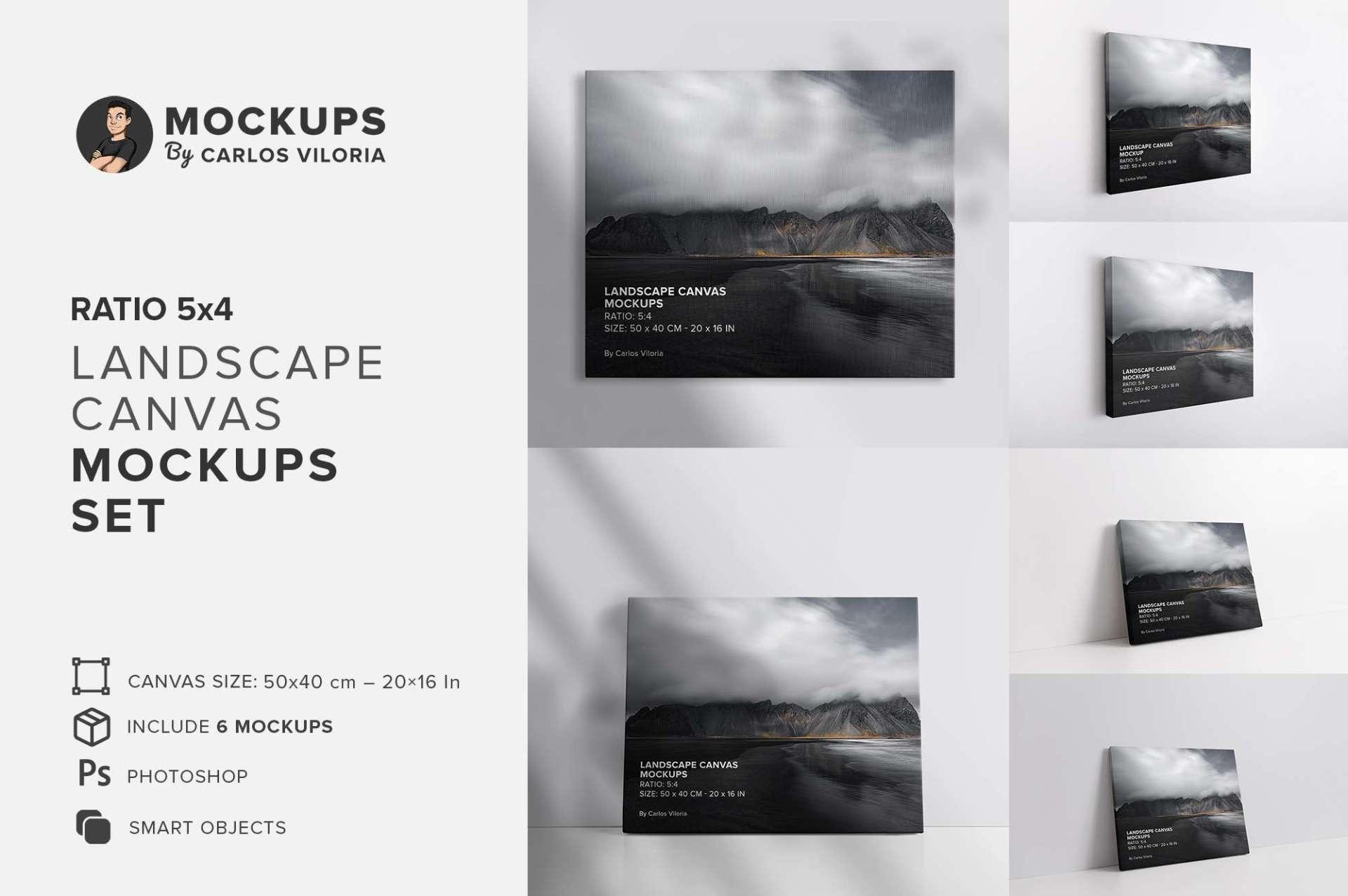 Landscape Ratio 5x4 Canvas Mockups