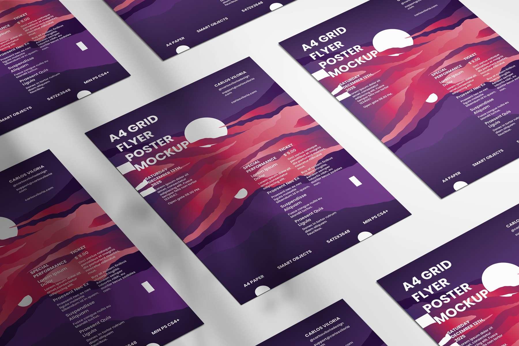 Grid A4 Flyer Poster Mockup