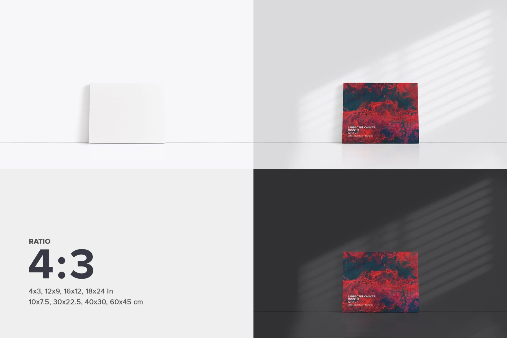 Leaning on wall 4x3 Canvas Mockup Bundle